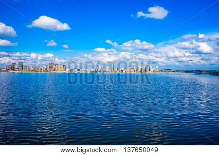 Kazan-panoramic view from Kazanka river. Kazan big city in Russia