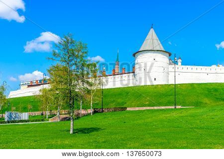 Kazan Kremlin, medieval fortress in Russia. View from Millennium Square.