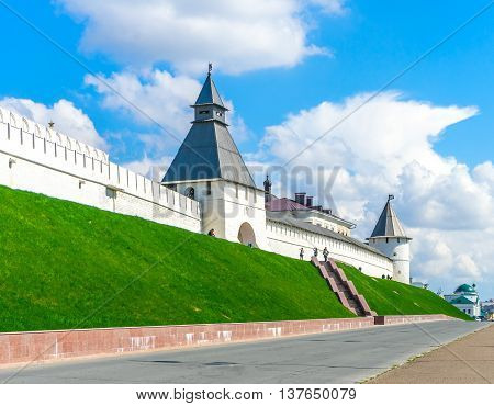 Medieval fortress in Kazan. View from Millennium Square