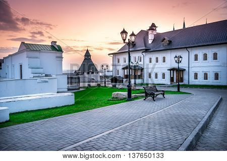 Near buildings of the Saviour-Transfiguration Monastery in the Kazan Kremlin at sunset