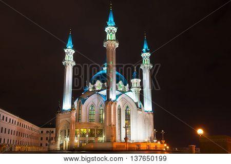Kul Sharif mosque at night. Kazan Russia
