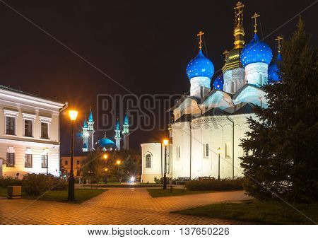 The proximity of the temples of two religions in the territory of the Kazan Kremlin. Kazan Russia