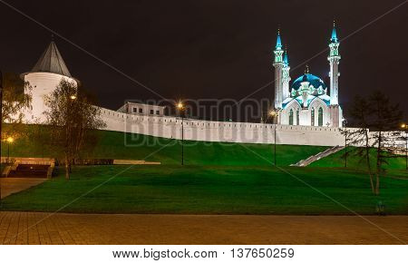 Kazan Kremlin and Kul Sharif mosque at night. View from Millennium Square