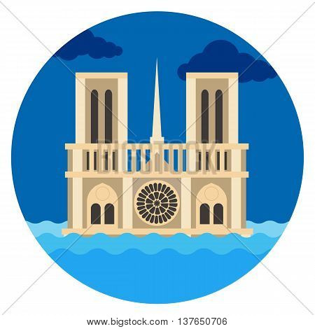 Notre Dame Cathedral flat vector illustration, Paris under the water, a great flood of Paris France cartoon.