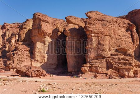 The Solomons Pillars geological and historical place in Timna Park near to Eilat Israel. The first copper mines in the history were here.