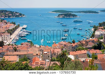 View of Hvar city and harbor from the Spanish Fortress in Croatia