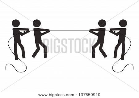teamwork competition pull loop people business isolated vector illustration