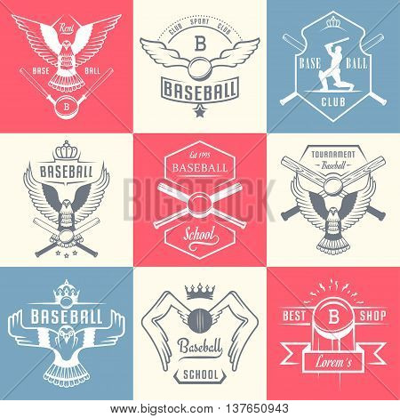 Set of vintage baseball labels logo sign badges and outfit. Collection of club emblem and design elements. Tournament professional symbol and sports graphic.
