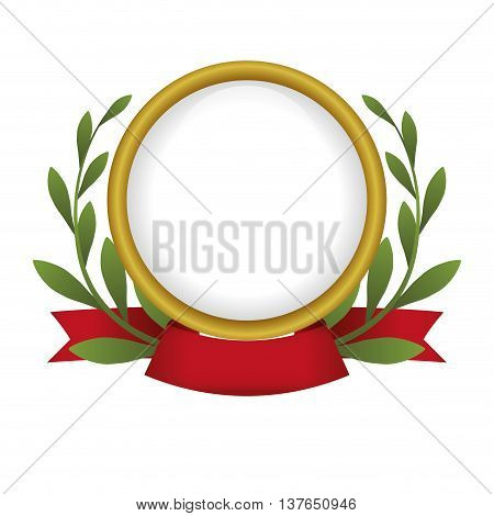 Label concept represented by seal stamp with wreath icon. Isolated and flat illustration