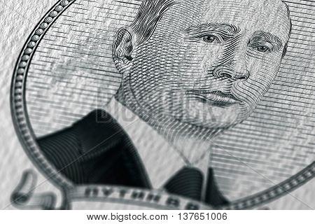 Scratchboard style portrait of russian president Vladimir Putin
