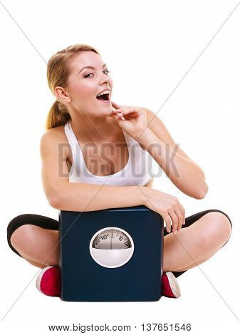 Young woman girl with weighing scale dieting slimming. Weight loss diet concept. Healthy lifestyle and body care. Isolated on white background.