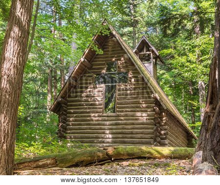 Backwoods chapel near the Old Growth Trail, at Hartwick Pines State Park, near Grayling, Michigan.