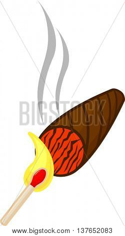 lighting a cigar with a wooden match