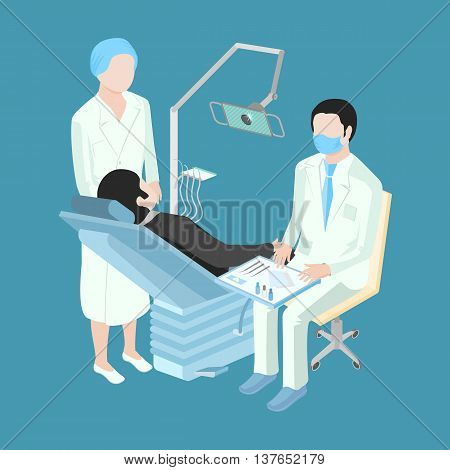 Patient at a reception at the dentist. A doctor in a respirator. Nurse standing next to the dental chair.
