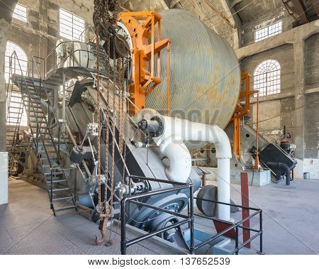 HANCOCK MI/USA - JULY 24 2015: Nordberg Steam Hoist in the Quincy Mine Hoist House, Keweenaw National Historical Park, Hancock, Michigan. The mine is listed in the National Register of Historic Places.
