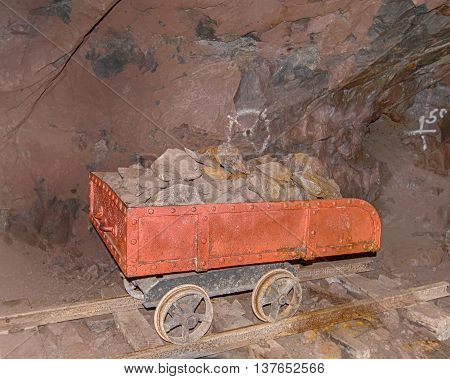 HANCOCK MI/USA - JULY 24 2015: Quincy Mine ore cart (trolley) Keweenaw National Historical Park, Hancock, Michigan. The mine is listed in the National Register of Historic Places.