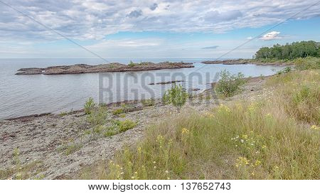 Summer flowers adorn Lake Superior shoreline on M-26, near Copper Harbor, Michigan.
