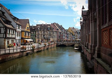 Narrow cosy authentic streets of Colmar, Alsace, France