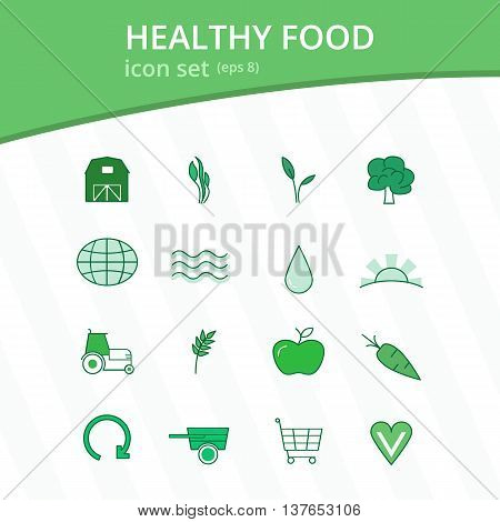 Healthy eco farm food isolated monotone icon set