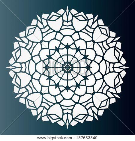 Openwork pattern mandala. Laser cutting template for wedding envelopes invitations decorative elements.