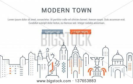 Flat line illustration of Modern Town. Template for travel adventure vacation. Concept for web banners and printed materials. Template with buttons for website banner and landing page.