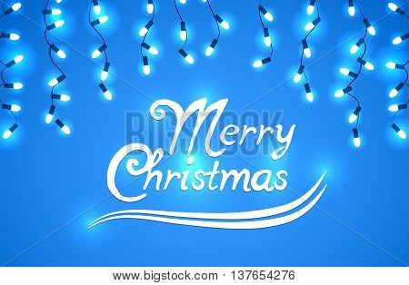 Vector set of Marry Christmas and other holidays garlands light on a transparent background with beautiful phrase