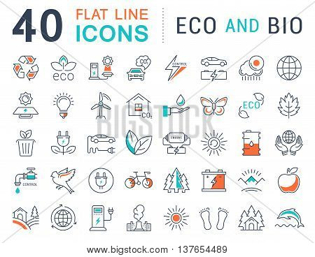 Set vector line icons in flat design eco and bio organic and recycling with elements for mobile concepts and web apps. Collection modern infographic logo and pictogram.