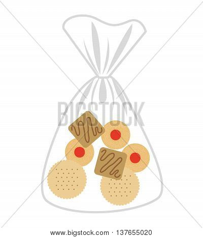 delicious cookies bag isolated icon design, vector illustration  graphic