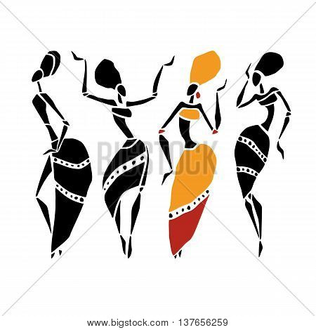Beautiful dancers silhouette isolated on white background. Tribal women. Vector illustration