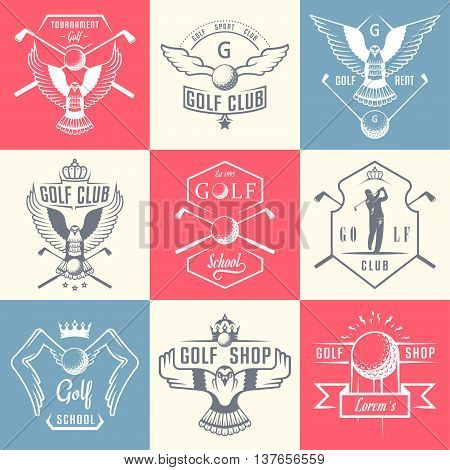 Vector set of vintage golf club logos. Set of country club templates. Labels and badges with sample text. Emblems fo tournaments and organizations.