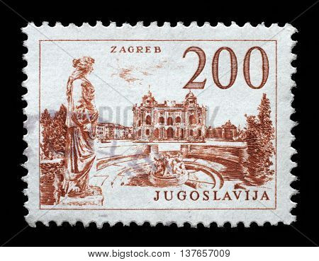 ZAGREB, CROATIA - JUNE 14: A stamp printed in Yugoslavia, Croatian National Theatre in Zagreb, circa 1958, on June 14, 2014, Zagreb, Croatia