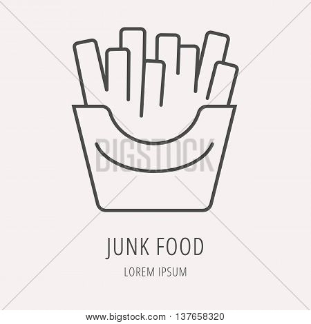 logo or label meal. Line style logotype template with junk food. Easy to use business template. Vector abstract logo or emblem.