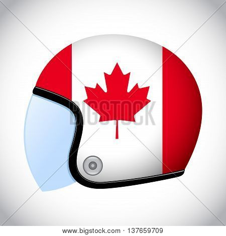 Vector stock of retro classic motorcycle helmet with Canada flag
