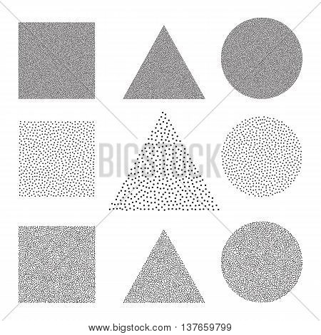 Halftone Background set. Dotwork Abstract Vector illustration Vintage style