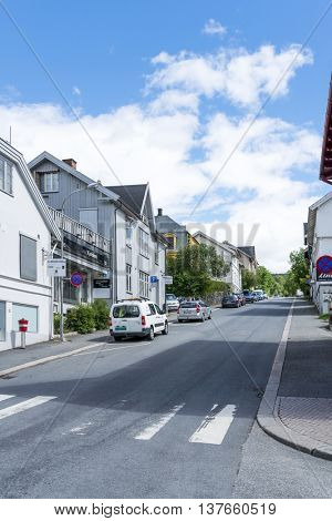 LILLEHAMMER, NORWAY - JUNE 27: View of a street in Lillehammer on a sunny summer day on June 27, 2016 in Lillehammer, Norway. Lillehammer is the center of winter sports.