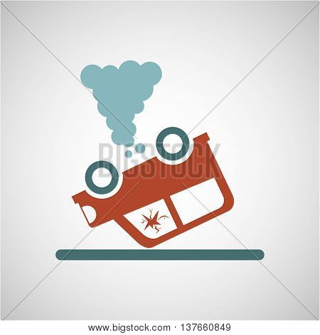 ensure protection insurance risk car isolated, vector illustration
