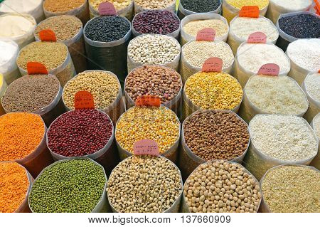 Rice and Beans Groceries in Bulk Bags at Market