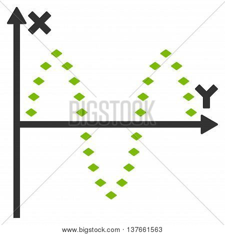 Dotted Sinusoid Plot vector toolbar icon. Style is bicolor flat icon symbol, eco green and gray colors, white background, rhombus dots.