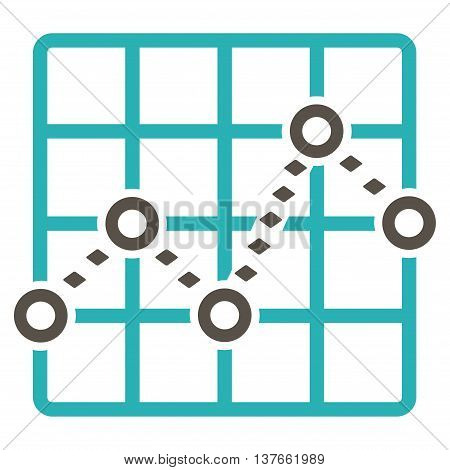 Dotted Line Grid Plot vector toolbar icon. Style is bicolor flat icon symbol, grey and cyan colors, white background, rhombus dots.