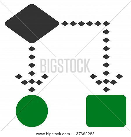 Algorithm Scheme vector toolbar icon. Style is bicolor flat icon symbol, green and gray colors, white background, rhombus dots.