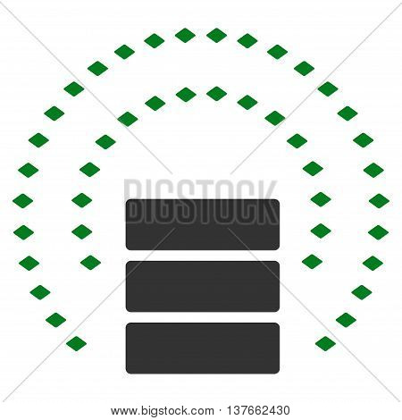 Database Sphere Shield vector toolbar icon. Style is bicolor flat icon symbol, green and gray colors, white background, rhombus dots.