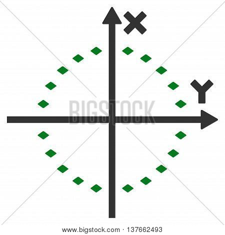 Dotted Circle Plot vector toolbar icon. Style is bicolor flat icon symbol, green and gray colors, white background, rhombus dots.