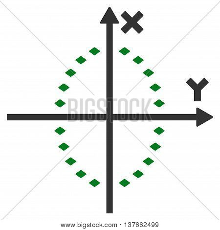 Dotted Ellipse Plot vector toolbar icon. Style is bicolor flat icon symbol, green and gray colors, white background, rhombus dots.