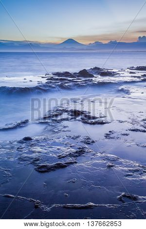 Japan seacape coastline and Mt. Fuji in beautiful sunset
