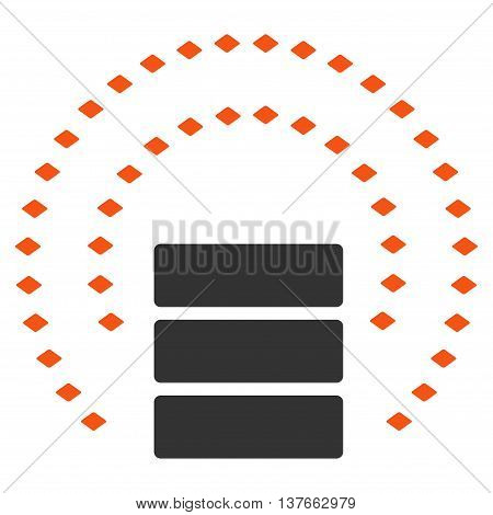 Database Sphere Shield vector toolbar icon. Style is bicolor flat icon symbol, orange and gray colors, white background, rhombus dots.