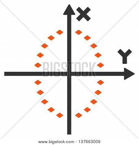 Dotted Ellipse Plot vector toolbar icon. Style is bicolor flat icon symbol, orange and gray colors, white background, rhombus dots.