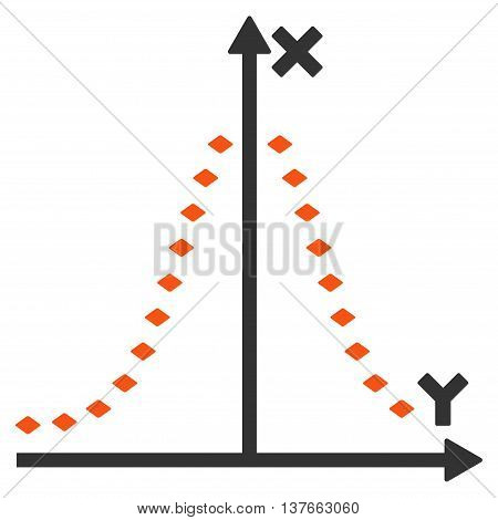 Dotted Gauss Plot vector toolbar icon. Style is bicolor flat icon symbol, orange and gray colors, white background, rhombus dots.