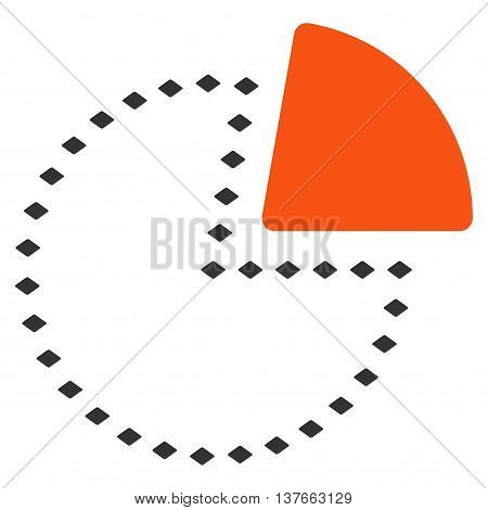 Dotted Pie Chart vector toolbar icon. Style is bicolor flat icon symbol, orange and gray colors, white background, rhombus dots.