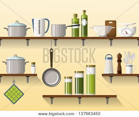 Kitchen shelving with tableware seamless part 2 of 4