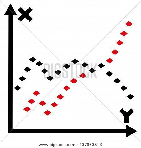 Dotted Functions Plot vector toolbar icon. Style is bicolor flat icon symbol, intensive red and black colors, white background, rhombus dots.
